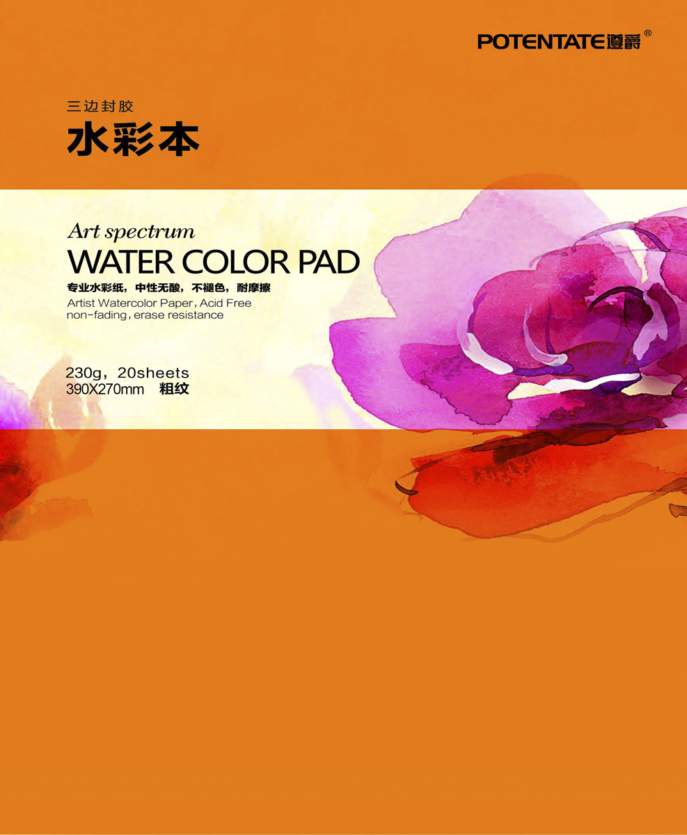 Potentate Бумага для рисования Watercolor Pad Rough Surface 20 листов 390 x 270 мм - Бумага и картон