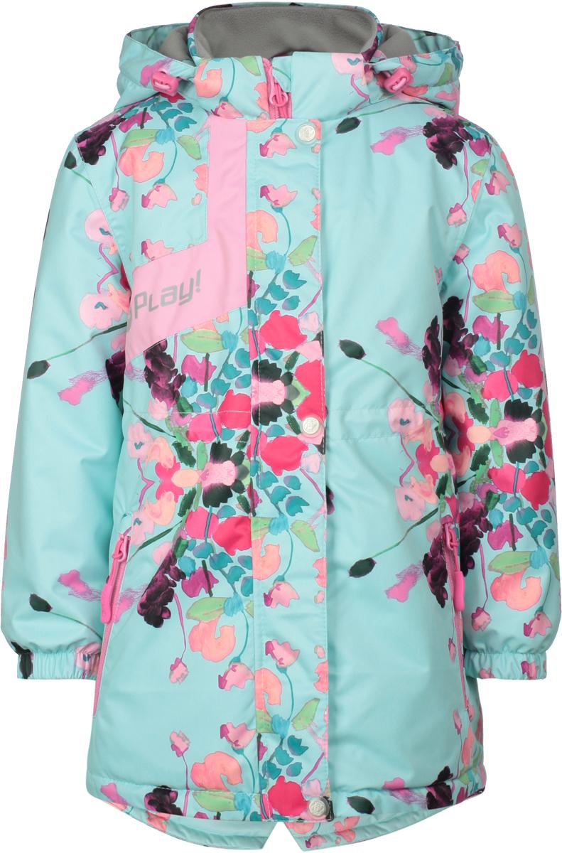 Куртка для девочек atPlay!, цвет: мятный. 1jk805. Размер 1041jk805Удобная и комфортная куртка для девочек atPlay! выполнена из качественного полиэстера с цветочным принтом. Модель с воротником-стойкой застегивается на молнию и дополнительно ветрозащитным клапаном на кнопки. Манжеты рукавов дополнены эластичными вставками. Спереди модель оформлена прорезными карманами на застежках-молниях.