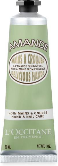 L`Occitane Восхитительные ручки Миндаль, 30 мл471838Питательная формула, обогащённая миндальным молочком и протеинами, восстанавливает, смягчает и разглаживает кожу рук. Лёгкая, невесомая текстура мгновенно впитывается, оставляя на коже тонкий и сладкий аромат миндаля.