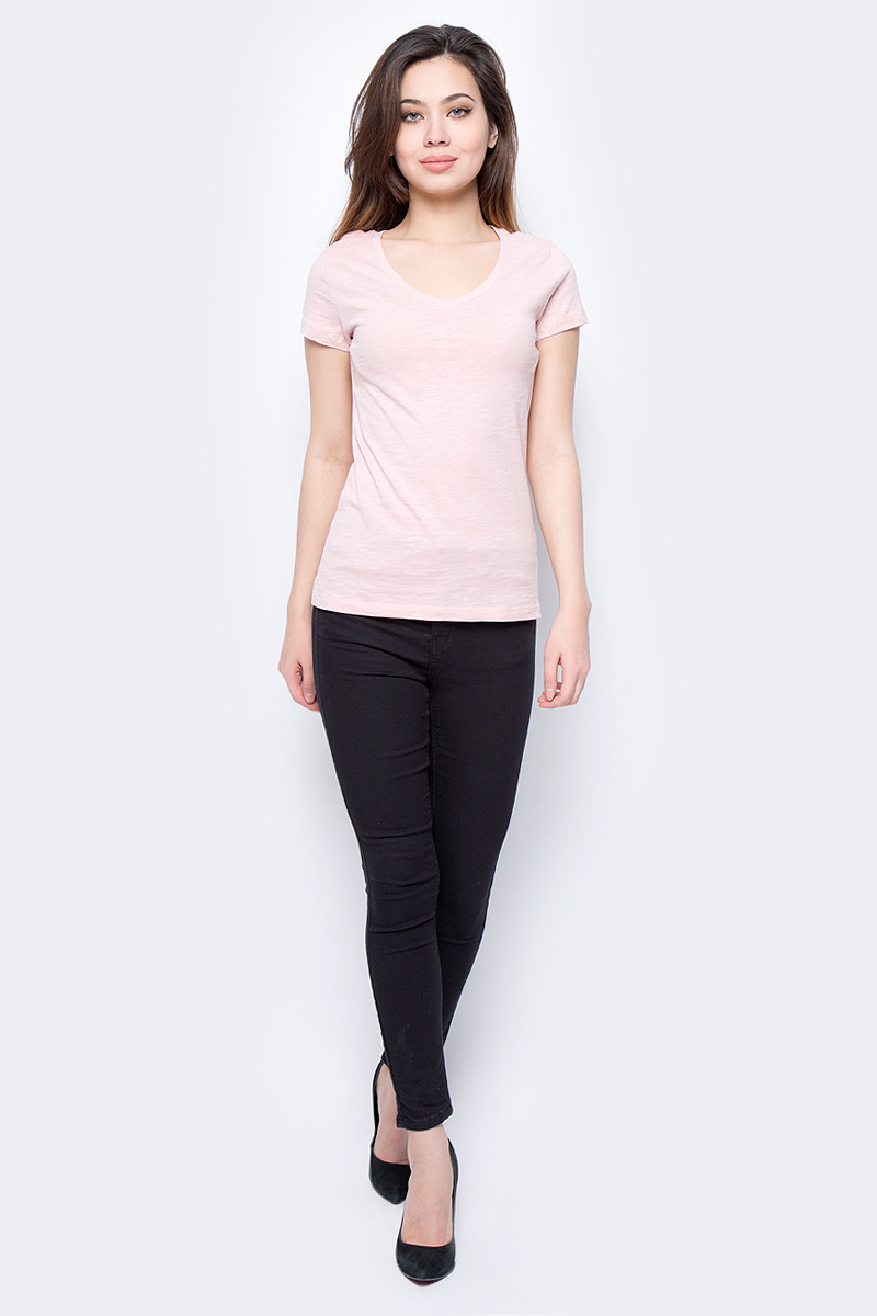 Футболка женская Sela, цвет: розовый. Ts-111/247-8182. Размер XL (50)Ts-111/247-8182Футболка женская Sela выполнена из натурального хлопка. Модель с V-образным вырезом горловины и короткими рукавами.