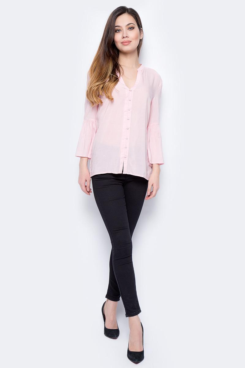 Блузка женская Sela, цвет: розовый. B-112/897-8131. Размер 42B-112/897-8131Блузка женская Sela выполнена из 100% вискозы. Модель с V-образным вырезом горловины и длинными рукавами.