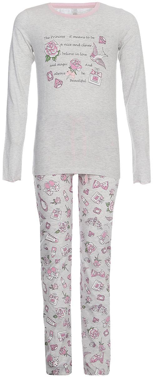 Пижама для девочки Sela: футболка с длинным рукавом, брюки, цвет: светло-серый меланж. PYb-5662/345-8110. Размер 116/122, 6-8 летPYb-5662/345-8110Уютная пижама для девочки Sela, состоящая из футболки с длинным рукавом и брюк, станет отличным дополнением к домашнему гардеробу. Пижама изготовлена из натурального хлопка, благодаря чему она приятна на ощупь и комфортна в носке. Футболка с длинным рукавом прямого кроя оформлена принтом. Круглый вырез горловины дополнен мягкой эластичной бейкой. Брюки полуприлегающего кроя имеют пояс на резинке.
