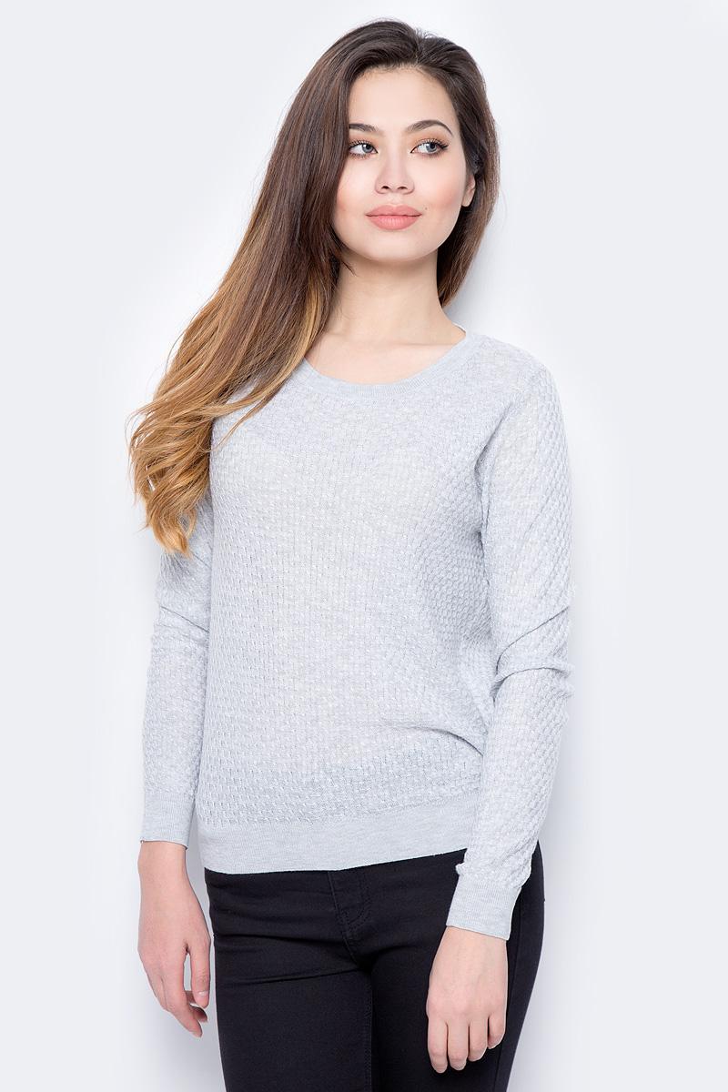 Джемпер женский Sela, цвет: светло-серый меланж. JR-114/693-8182. Размер XS (42) свитшот женский sela цвет серый меланж st 113 937 7351 размер xs 42