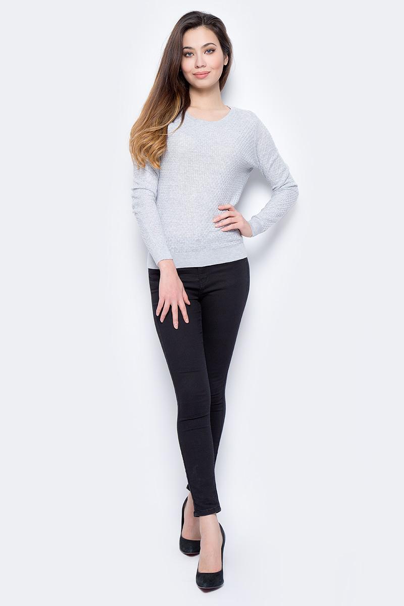 Джемпер женский Sela, цвет: светло-серый меланж. JR-114/693-8182. Размер XL (50)JR-114/693-8182
