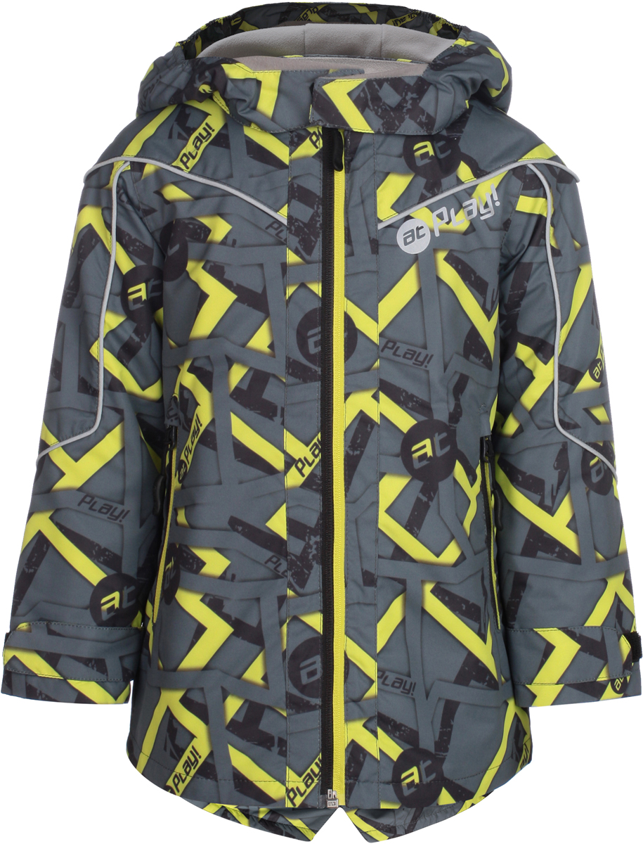 Куртка для мальчика atPlay!, цвет: серый. 2jk806. Размер 982jk806Удобная и комфортная куртка для мальчика atPlay! выполнена из качественного полиэстера. Модель застегивается на молнию. Манжеты рукавов дополнены широкими утягивающими хлястиками на липучках. Спереди модель оформлена двумя прорезными карманами на застежках-молниях.