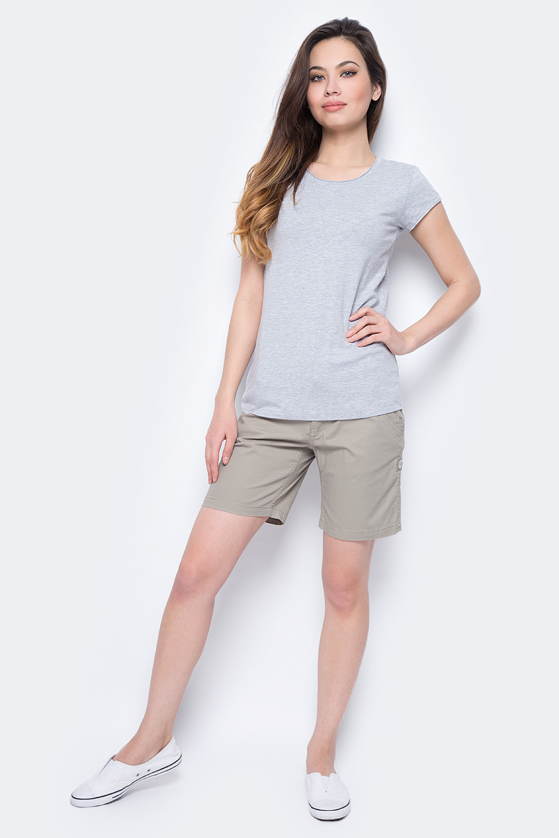Футболка женская Sela, цвет: светло-серый меланж. Ts-111/338-8182M. Размер XXS (40) футболка женская moodo цвет белый сиреневый серый l ts 2045 white размер m 46
