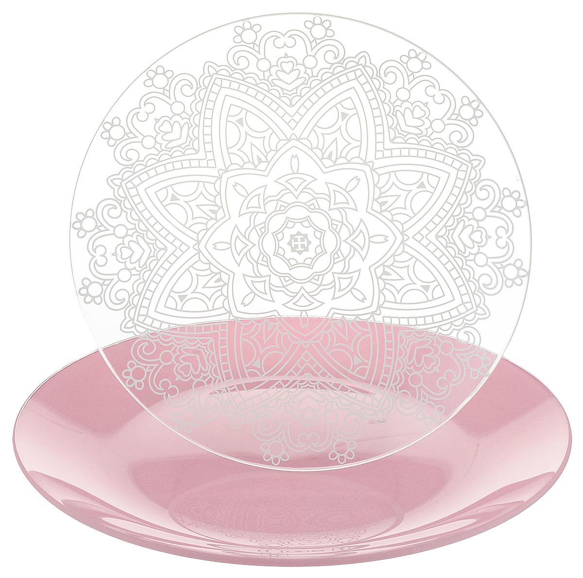 Набор тарелок NiNaGlass, цвет: розовый, диаметр 20 см, 2 шт. 85-200-148пср85-200-148псрНабор тарелок NiNaGlass Кружево и Палитра выполнена из высококачественного стекла, декорирована под Вологодское кружево и подстановочная тарелка яркий насыщенный цвет. Набор идеален для подачи горячих блюд, сервировки праздничного стола, нарезок, салатов, овощей и фруктов. Он отлично подойдет как для повседневных, так и для торжественных случаев. Такой набор прекрасно впишется в интерьер вашей кухни и станет достойным дополнением к кухонному инвентарю.