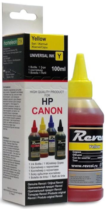 Revcol К-R-HCL-0,1-YD Yellow, чернила для принтеров HP/Canon, 100 мл чернила revcol для hp canon yellow dye 100 мл