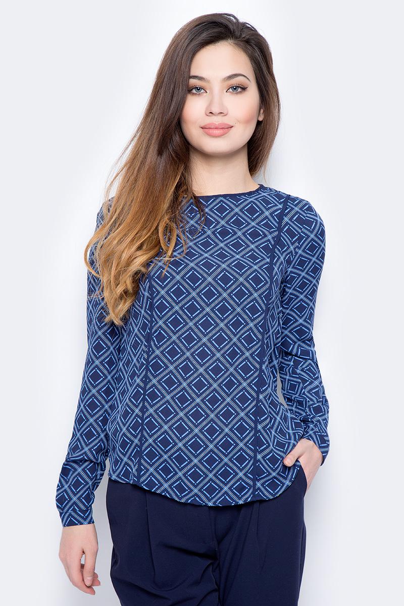 Блузка женская Sela, цвет: темно-синий. Tw-112/782-8111. Размер 46Tw-112/782-8111