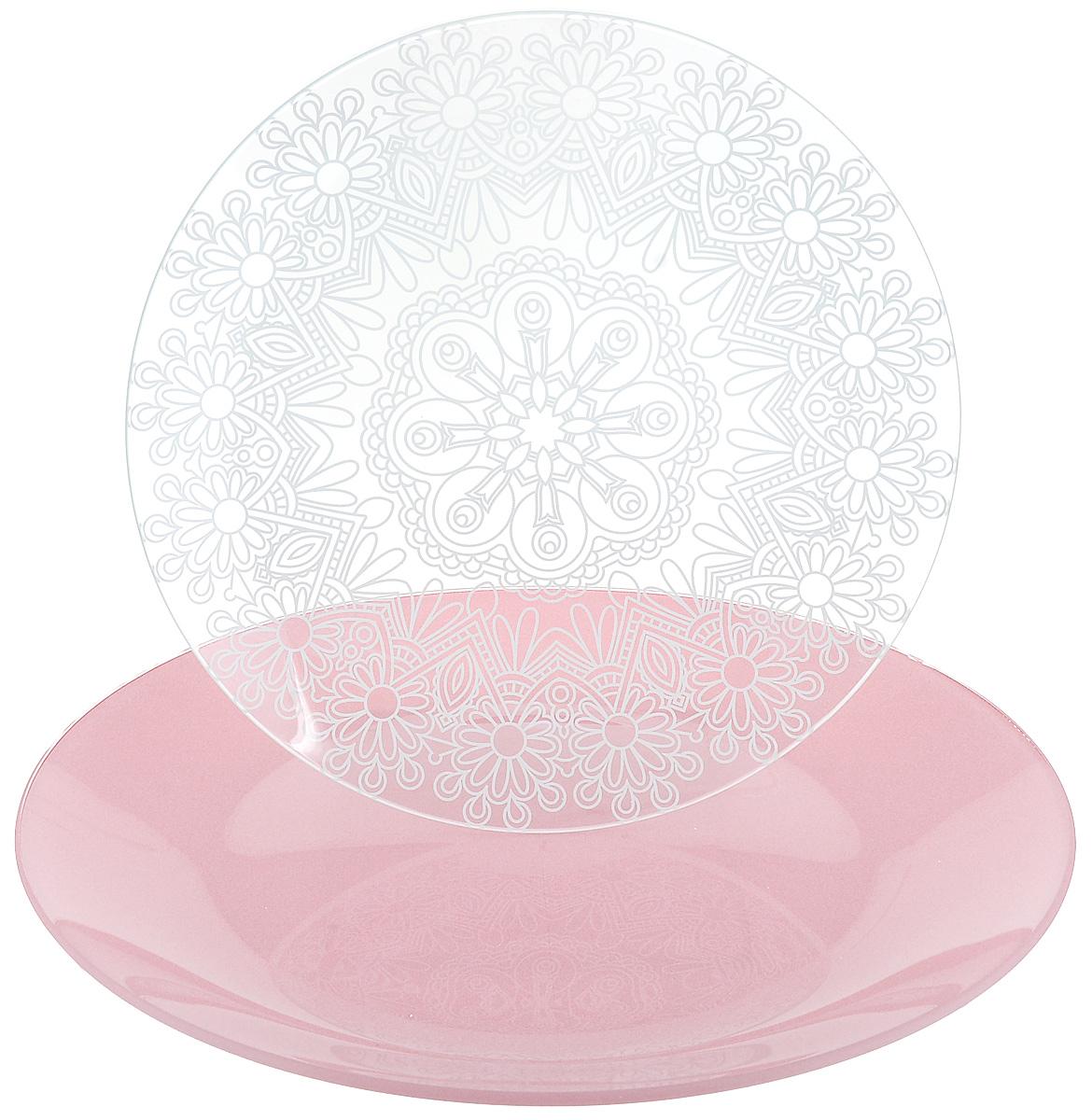 Набор тарелок NiNaGlass, цвет: розовый, диаметр 20 см, 2 шт. 85-200-146пср85-200-146псрНабор тарелок NiNaGlass Кружево и Палитра выполнена из высококачественного стекла, декорирована под Вологодское кружево и подстановочная тарелка яркий насыщенный цвет. Набор идеален для подачи горячих блюд, сервировки праздничного стола, нарезок, салатов, овощей и фруктов. Он отлично подойдет как для повседневных, так и для торжественных случаев. Такой набор прекрасно впишется в интерьер вашей кухни и станет достойным дополнением к кухонному инвентарю.