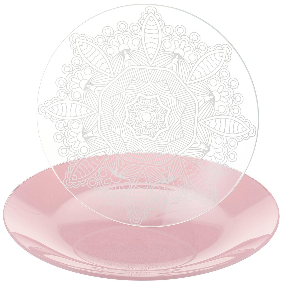 Набор тарелок NiNaGlass, цвет: розовый, диаметр 20 см, 2 шт85-200-149псрНабор тарелок NiNaGlass Кружево и Палитра выполнена из высококачественного стекла, декорирована под Вологодское кружево и подстановочная тарелка яркий насыщенный цвет. Набор идеален для подачи горячих блюд, сервировки праздничного стола, нарезок, салатов, овощей и фруктов. Он отлично подойдет как для повседневных, так и для торжественных случаев. Такой набор прекрасно впишется в интерьер вашей кухни и станет достойным дополнением к кухонному инвентарю.