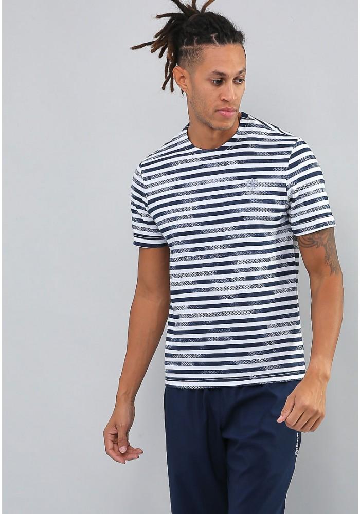 Футболка мужская Reebok Ef French Tee, цвет: белый, темно-синий. CD6624. Размер S (44/46)  - купить со скидкой