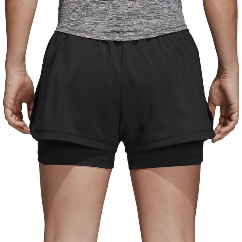 Шорты женские adidas 2In1 Short W, цвет: черный. CD6413. Размер M (46/48)CD6413Женские шорты от adidas сшиты из эластичной ткани. Модель два в одном дополнена внутренними леггинсами из дышащей отводящей влагу ткани, которая повышает удобство и позволяет сосредоточиться на выполняемых упражнениях. Изделие дополнено эластичным поясом.
