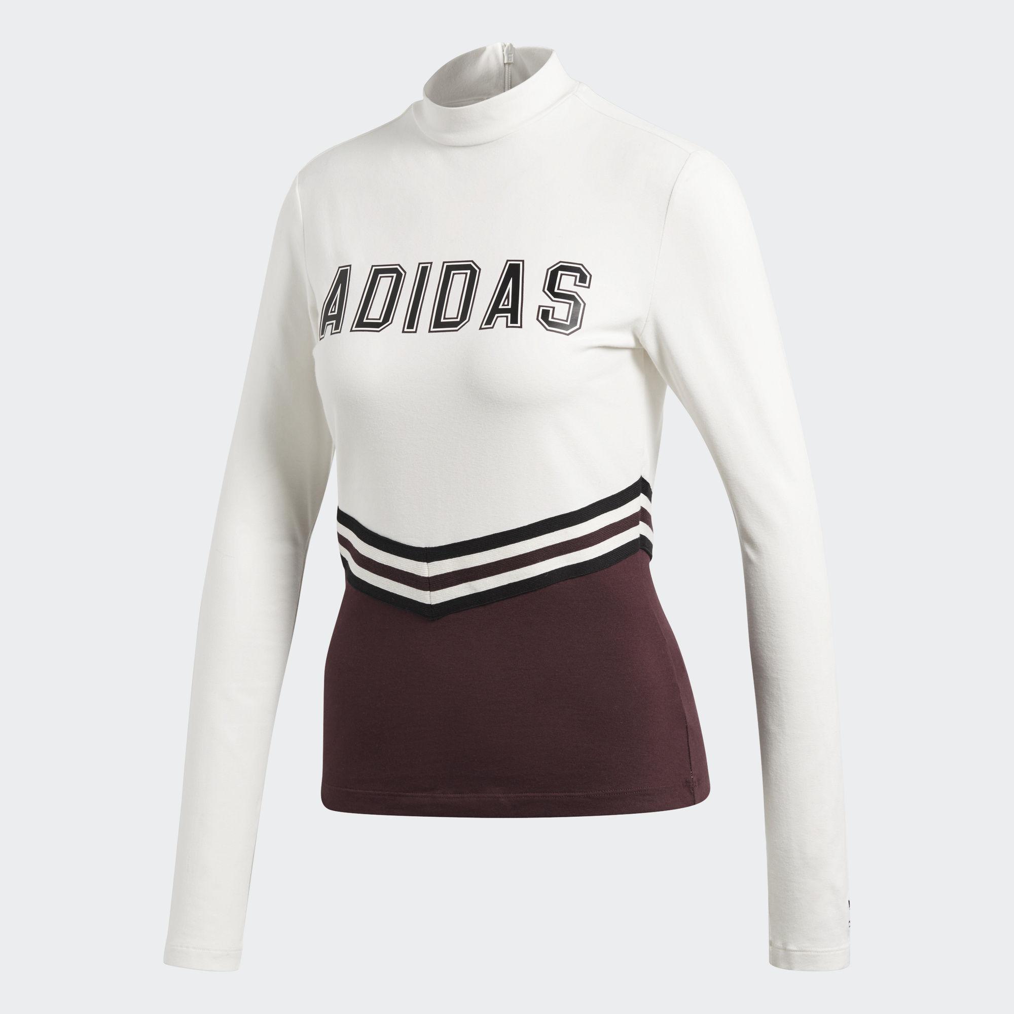 Лонгслив женский Adidas Adibreak Ls Tee, цвет: белый, бордовый. CE1000. Размер 34 (42)CE1000