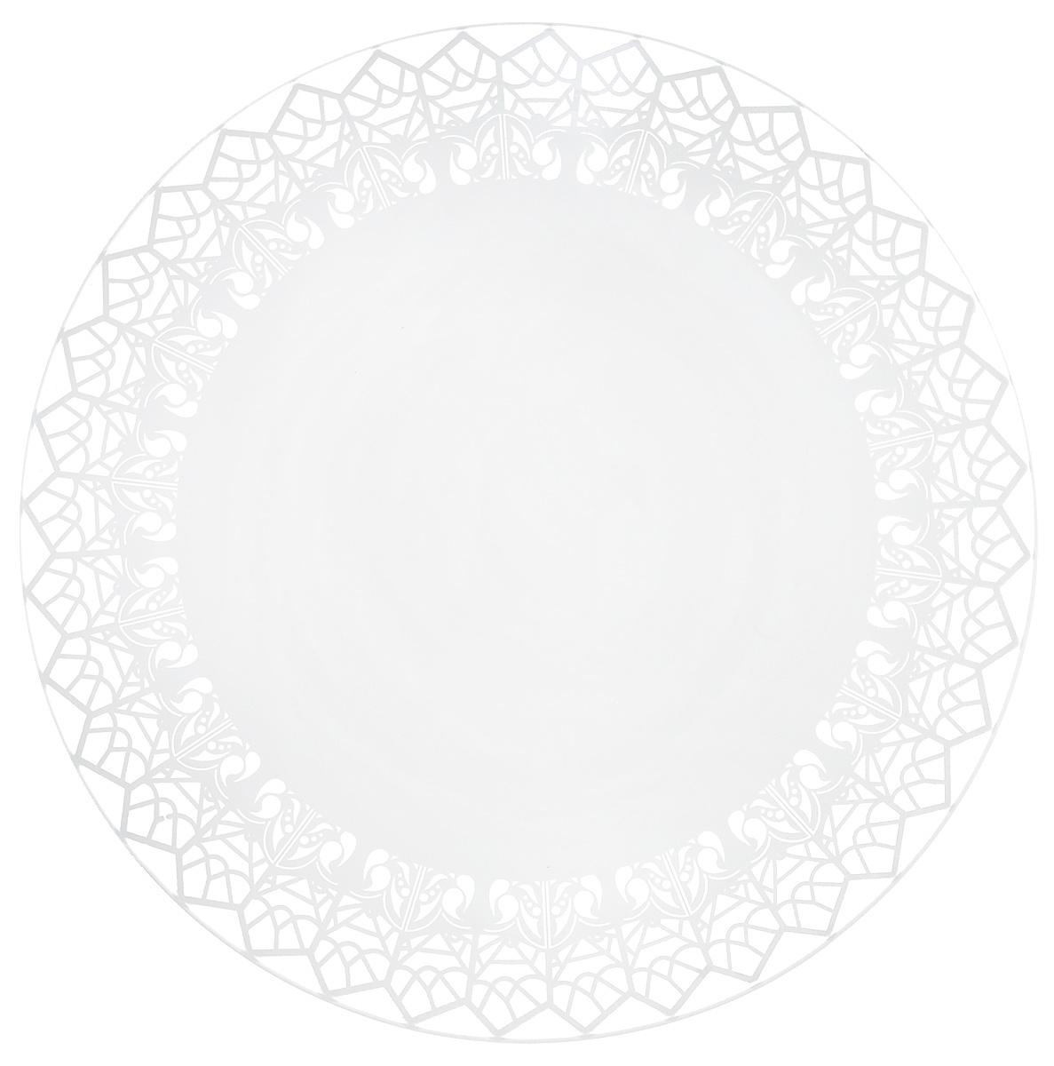 Тарелка десертная NiNaGlass Кружево 7, цвет: белый, диаметр 20 см85-200-147пб7Тарелка NiNaGlass Кружево выполнена из высококачественного стекла и декорирована под Вологодское кружево. Тарелка идеальна для подачи вторых блюд, а также сервировки закусок, нарезок, салатов, овощей и фруктов. Она отлично подойдет как для повседневных, так и для торжественных случаев. Такая тарелка прекрасно впишется в интерьер вашей кухни и станет достойным дополнением к кухонному инвентарю.