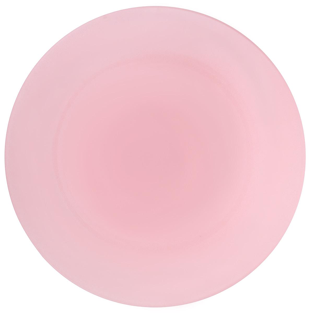 Тарелка NiNaGlass Палитра, цвет: розовый, диаметр 26 см85-260-125псрТарелка NiNaGlass Палитра выполнена из высококачественного стекла яркий насыщенный цвет. Тарелка идеальна для подачи вторых блюд, а также сервировки закусок, нарезок, салатов, овощей и фруктов. Она отлично подойдет как для повседневных, так и для торжественных случаев. Такая тарелка прекрасно впишется в интерьер вашей кухни и станет достойным дополнением к кухонному инвентарю.