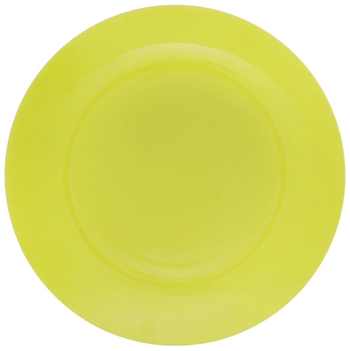 Тарелка NiNaGlass Палитра, цвет: зеленый, диаметр 26 см85-260-125псзТарелка NiNaGlass Палитра выполнена из высококачественного стекла яркий насыщенный цвет. Тарелка идеальна для подачи вторых блюд, а также сервировки закусок, нарезок, салатов, овощей и фруктов. Она отлично подойдет как для повседневных, так и для торжественных случаев. Такая тарелка прекрасно впишется в интерьер вашей кухни и станет достойным дополнением к кухонному инвентарю.