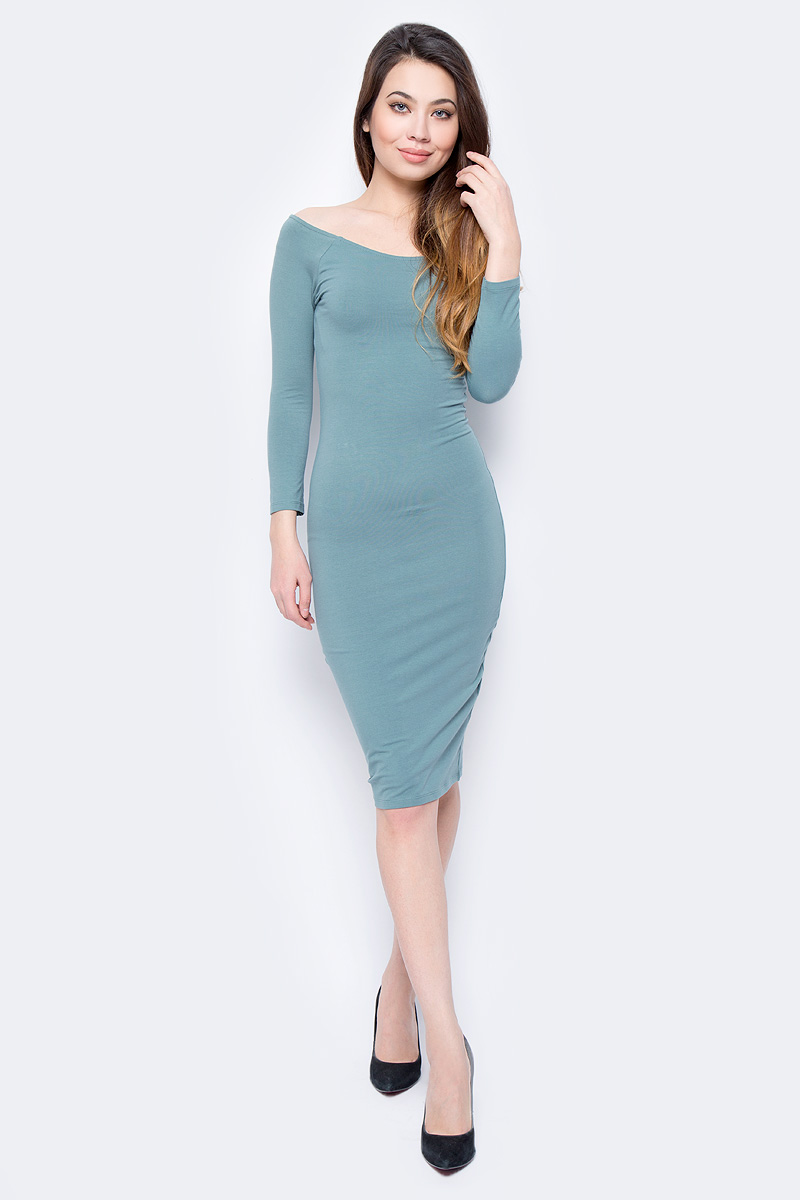 Платье oodji Ultra, цвет: морская волна. 14017001-6B/47420/6C00N. Размер XS (42) платье oodji ultra цвет черный 14017001 6b 47420 2900n размер xl 50