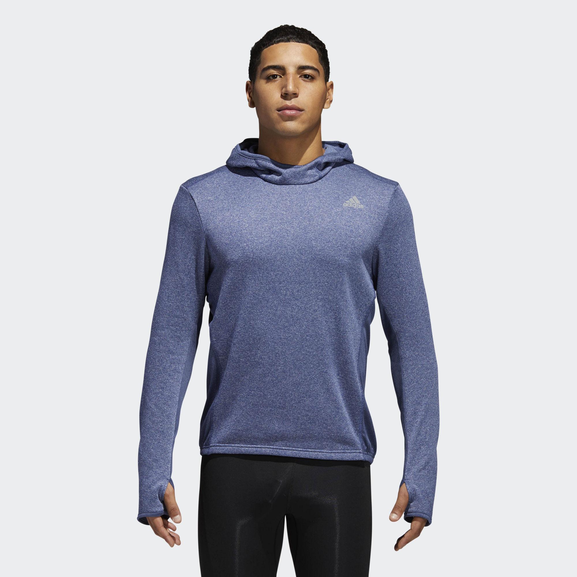 Толстовка мужская adidas Rs Hoodie M, цвет: синий. CF2055. Размер L (52/54)CF2055Толстовка от adidas изготовлена специально для спортивных тренировок. Модель сохраняет максимум тепла благодаря ткани с технологией Climawarm и удлиненным рукавам с прорезями для больших пальцев. Приталенный крой и облегающий капюшон для дополнительной защиты от холода. Модель дополнена светоотражающими полосами на капюшоне.