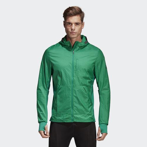Ветровка мужская Adidas Pure Amp Jkt M, цвет: зеленый. CF6037. Размер M (48/50)CF6037Эта мужская беговая ветровка от adidas из ткани Climalite сохранит ваше тело сухим на любой дистанции. Модель дополнена влагонепроницаемым карманом для мелочей и светоотражающими деталями.
