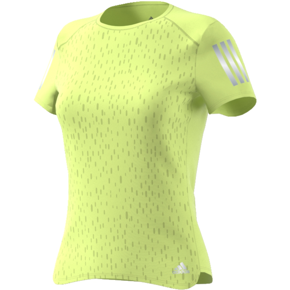 Футболка женская Adidas Rs Ss Tee W, цвет: желтый. CF2146. Размер S (42/44)CF2146Настройтесь на комфортные пробежки в этой женской футболке от adidas. Стильная модель с тональной графикой на лицевой стороне. Ткань с технологией Climacool позволяет коже дышать и быстро испаряет излишки влаги. Светоотражающие детали позволяют безопаснее бегать в темное время суток. adidas заботится об окружающей среде при производстве товаров. Эта футболка выполнена из переработанного полиэстера с целью сохранения ресурсов и уменьшения вредных выбросов в атмосферу.