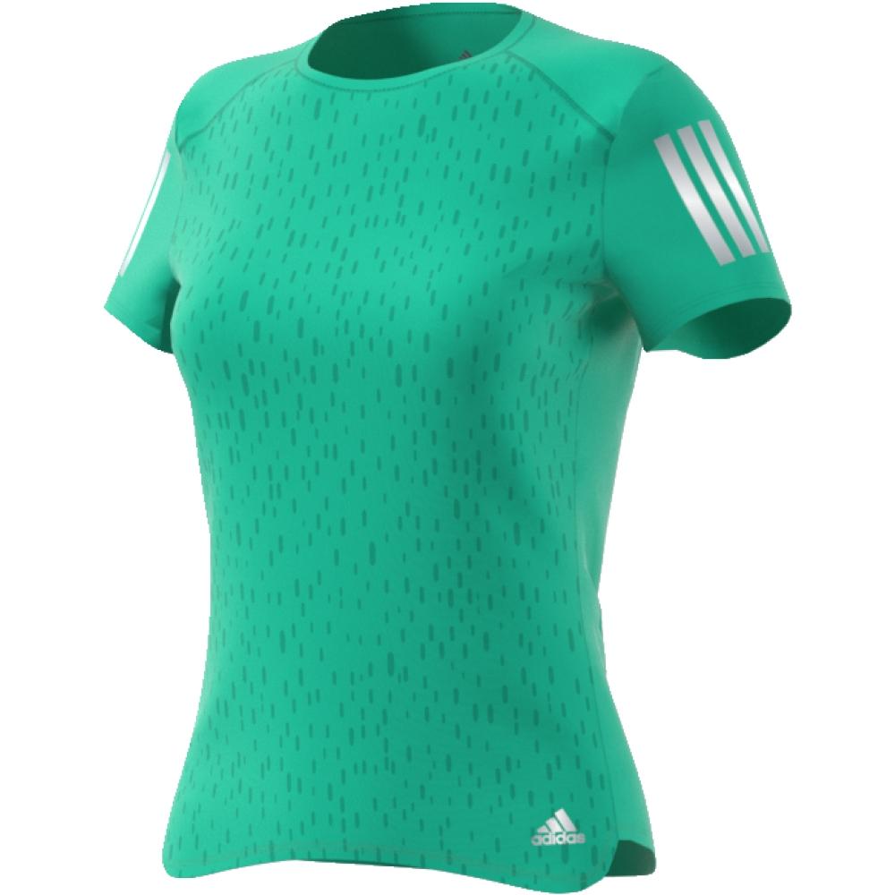 Футболка женская Adidas Rs Ss Tee W, цвет: зеленый. CF2144. Размер XS (40/42)CF2144Настройтесь на комфортные пробежки в этой женской футболке от adidas. Стильная модель с тональной графикой на лицевой стороне. Ткань с технологией Climacool позволяет коже дышать и быстро испаряет излишки влаги. Светоотражающие детали позволяют безопаснее бегать в темное время суток. adidas заботится об окружающей среде при производстве товаров. Эта футболка выполнена из переработанного полиэстера с целью сохранения ресурсов и уменьшения вредных выбросов в атмосферу.