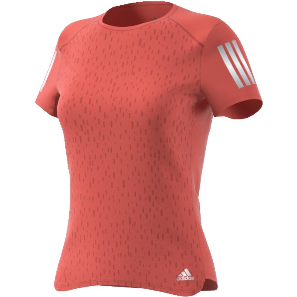 Футболка женская Adidas Rs Ss Tee W, цвет: розовый. CF2140. Размер L (48/50)CF2140Настройтесь на комфортные пробежки в этой женской футболке от adidas. Стильная модель с тональной графикой на лицевой стороне. Ткань с технологией Climacool позволяет коже дышать и быстро испаряет излишки влаги. Светоотражающие детали позволяют безопаснее бегать в темное время суток. adidas заботится об окружающей среде при производстве товаров. Эта футболка выполнена из переработанного полиэстера с целью сохранения ресурсов и уменьшения вредных выбросов в атмосферу.