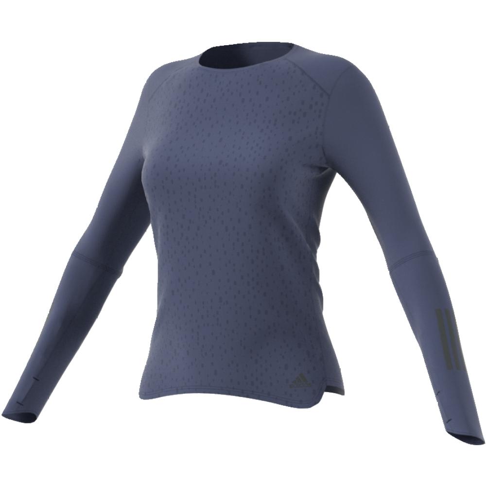 Лонгслив женский Adidas Rs Ls Tee W, цвет: синий. CF2120. Размер S (42/44)CF2120Лонгслив для бега от adidas изготовлен из полиэстера. У модели круглый ворот и длинные рукава с прорезями для больших пальцев.