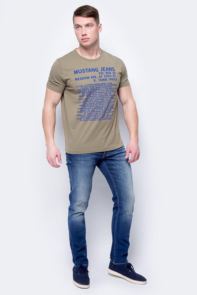 Футболка мужская Mustang History Tee, цвет: оливковый. 1005307-6287. Размер XXL (54) футболка мужская mustang c neck tee цвет белый 8412 1059 200 размер xxl 54