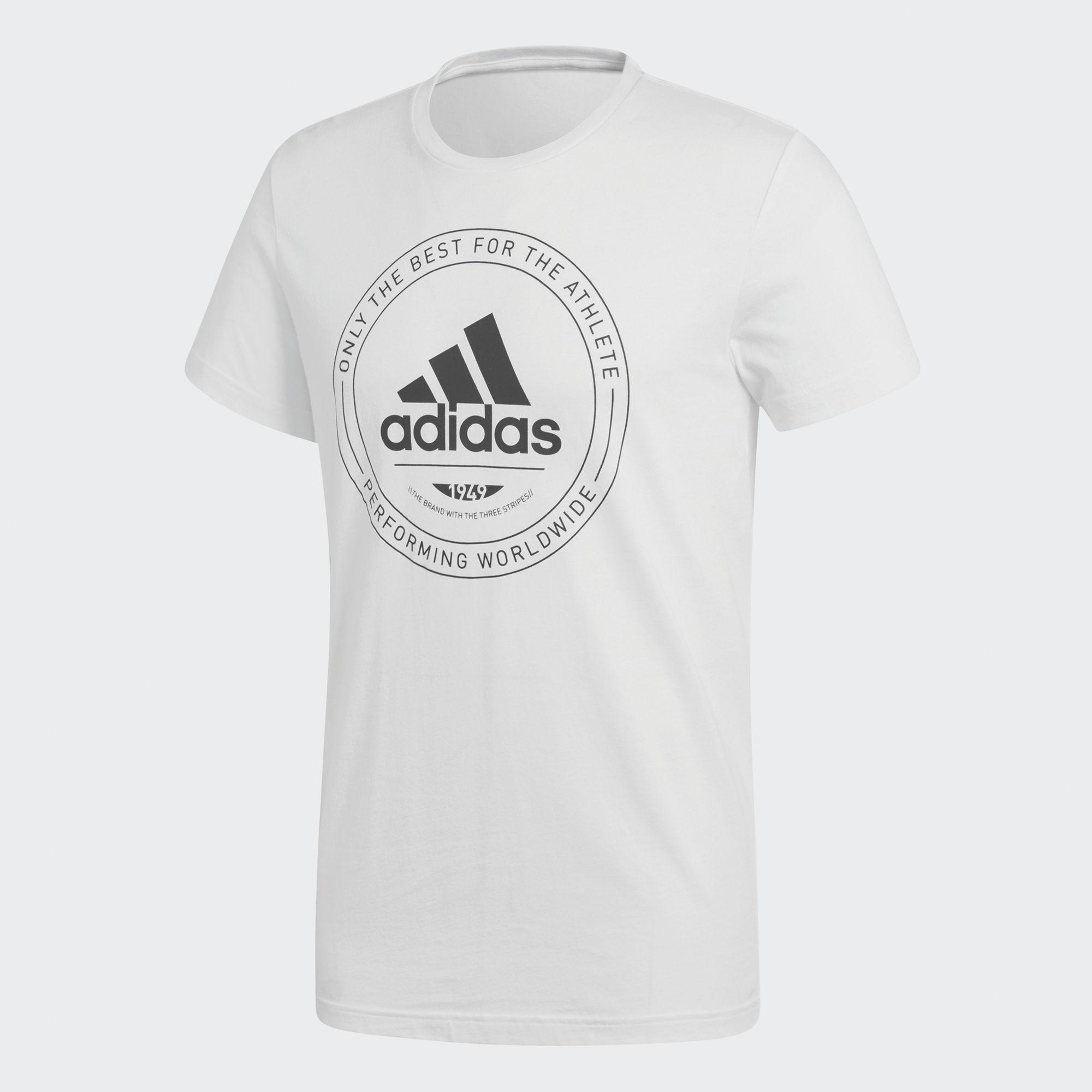 Купить Футболка мужская adidas Adi Emblem, цвет: белый. CV4515. Размер M (48/50)
