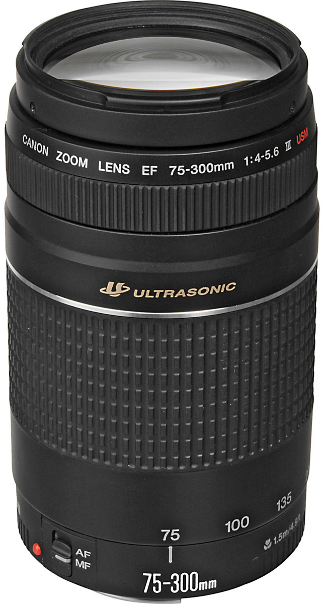 Canon EF 75-300 mm f/4-5.6 III USM объектив6472A012Один из самых компактных и легких зум-телеобъективов с своем классе, Canon EF 75-300 мм f/4-5.6 III USM идеален для фотографов, которые ограничены в бюджете. Прекрасно подходит для съемки спортивных мероприятий, природы и портретов.Самый легкий 4-кратный зум-телеобъектив в своем классе Идеально подходит для съемки спортивных событий, портретов, дикой природы и пр. Телефотоэффект объектива сжимает перспективу и ограничивает глубину резкости, прекрасно размывая фон. При фокусном расстоянии 300 мм кадр можно заполнить открыткой, находящейся на расстоянии 1,5 м.Встроенный привод автофокуса обеспечивает высокую скорость автофокусировки. Электромагнитная диафрагма обеспечивает четкий контроль ее положения.Покрытие Super Spectra помогает обеспечить точный цветовой баланс и высокую контрастность. Также покрытие позволяет устранить блики и двоение изображений, возникающие в результате отражения света от датчика камеры.Ультразвуковой привод кольцевого типа позволяет добиться быстрой автофокусировки. Благодаря отличным характеристикам объектива достигается точная фокусировка.