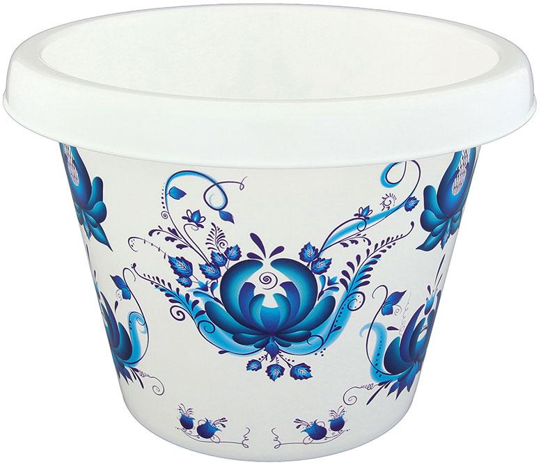 Кашпо Violet Гжель, с дренажем, 2 л811074Очень красивое пластиковое кашпо Violet Гжель украсит ваш интерьер. В комплекте дренаж для отведения излишней воды. Практичное, сохранит в чистоте поверхности, на которых стоит кашпо.