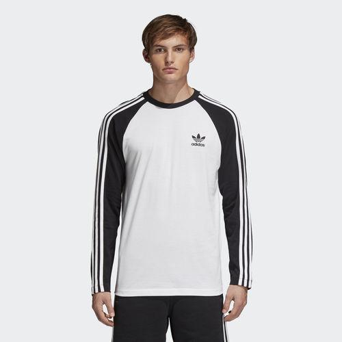 Лонгслив мужской Adidas 3-Stripes Ls T, цвет: белый, черный. CW1228. Размер L (52/54)CW1228