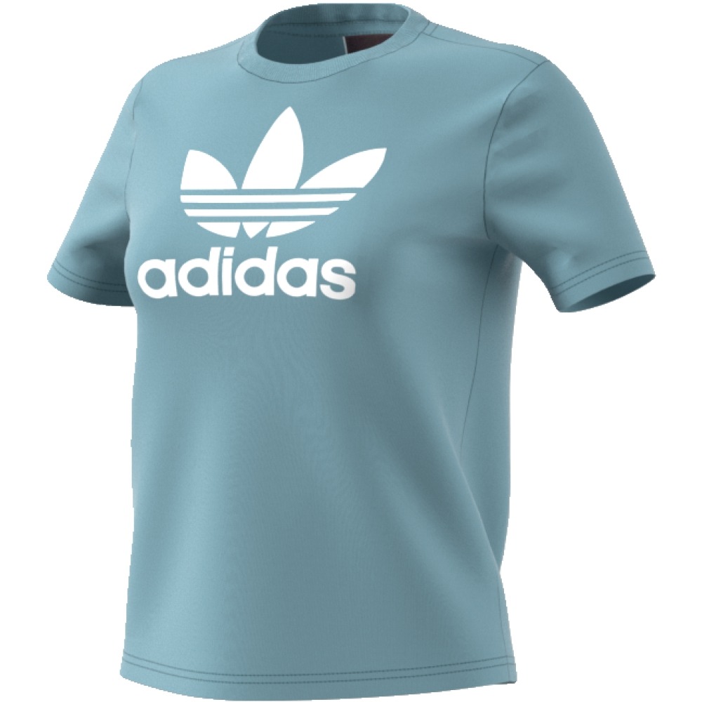 Футболка женская Adidas Trefoil Tee, цвет: голубой. CV9891. Размер 40 (46/48)CV9891