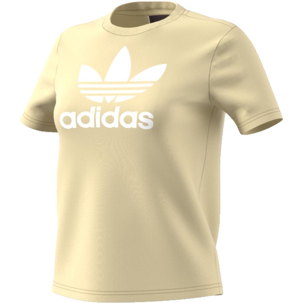 Футболка женская Adidas Trefoil Tee, цвет: желтый, белый. CV9893. Размер 40 (46/48)CV9893
