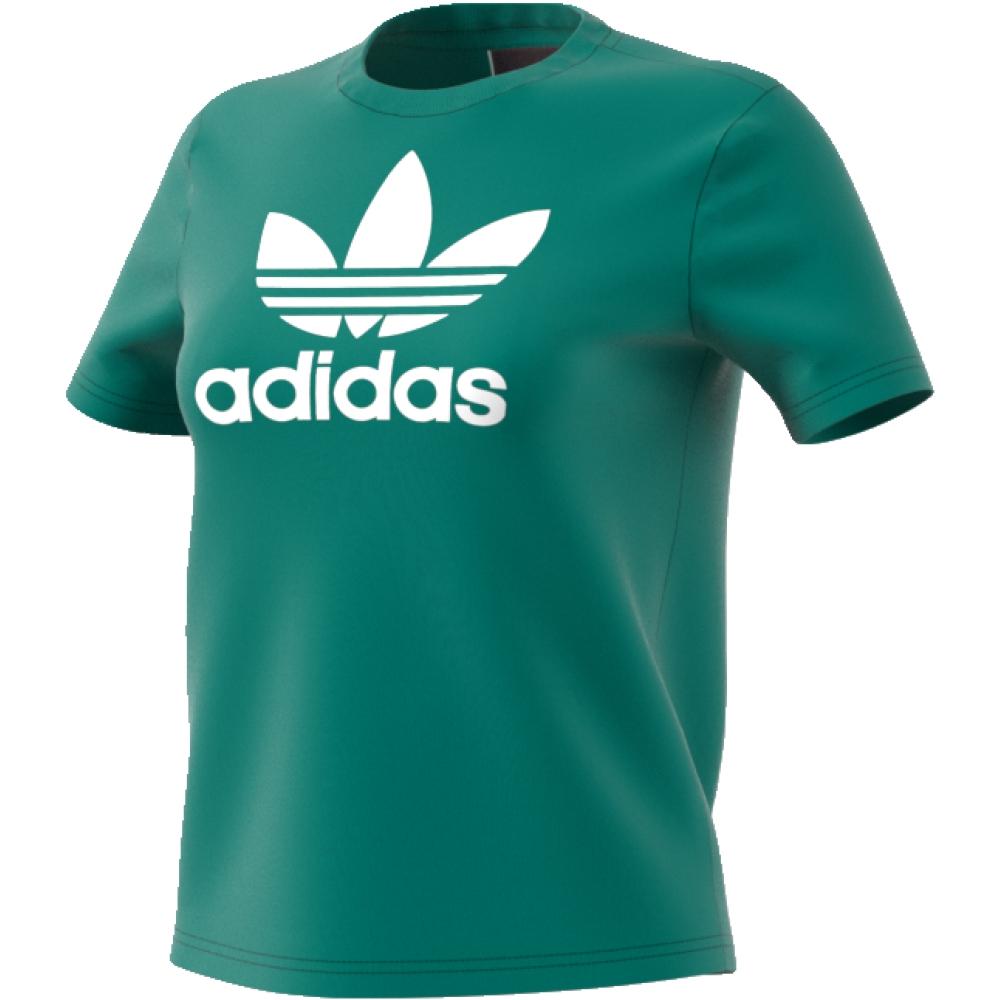 Футболка женская adidas Trefoil Tee, цвет: зеленый. CV9892. Размер 40 (46/48)CV9892