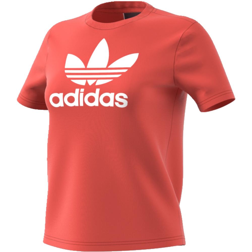 Футболка женская adidas Trefoil Tee, цвет: коралловый. CV9890. Размер 40 (46/48)