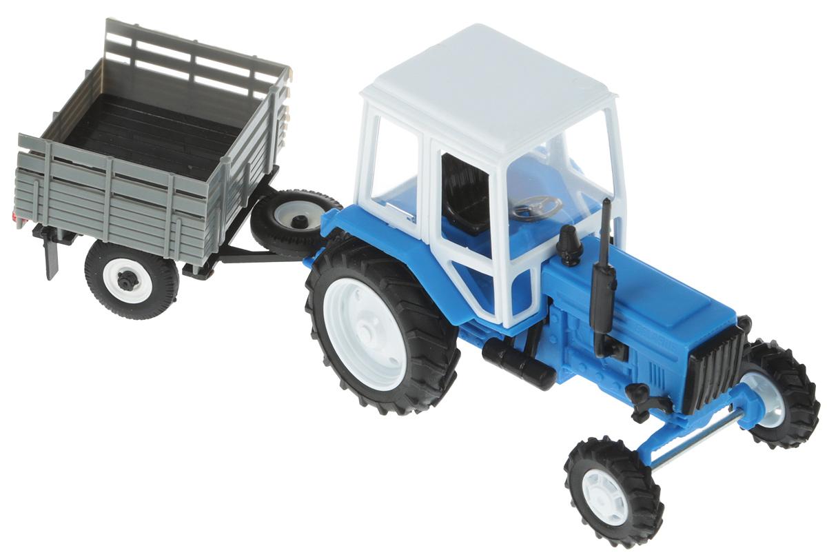 Мир отечественных моделей Трактор МТЗ-82 с прицепом цвет белый голубой часы casio gw m5610 1e