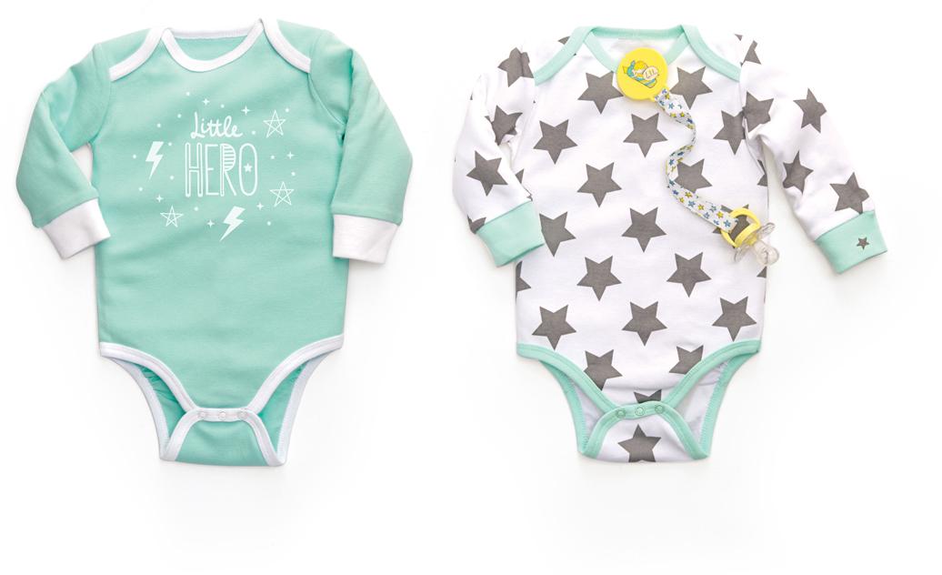 Боди детское Happy Baby, цвет: белый, мятный, 2 шт. 90005. Размер 74/80 боди детское hudson baby hudson baby боди цыплёнок 3 шт бирюзово розовый