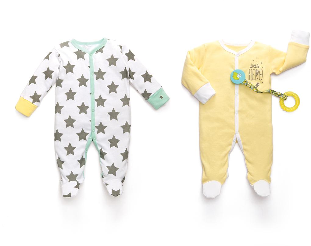 Пижама детская Happy Baby, цвет: белый, желтый, 2 шт. 90000. Размер 62/6890000Набор из двух пижам предназначен для малышей с самого рождения и соответствует требованиям родителей в отношении функциональности, высокого качества материалов и оптимального кроя! Для размеров 56/62 на рукавах предусмотрены антицарапки, чтобы малыш не поцарапал себя ноготками. Специальные резиночки позволяют мягко фиксировать штанишки на пяточках. Натуральная, очень эластичная и мягкая ткань создана из длинноволокнистого, гипоаллергенного хлопка, отлично выводит лишнюю влагу с поверхности тела, не вызывает аллергию или раздражение на коже малыша. Специально разработанное лекало обеспечивает правильную комфортную посадку на фигуре.