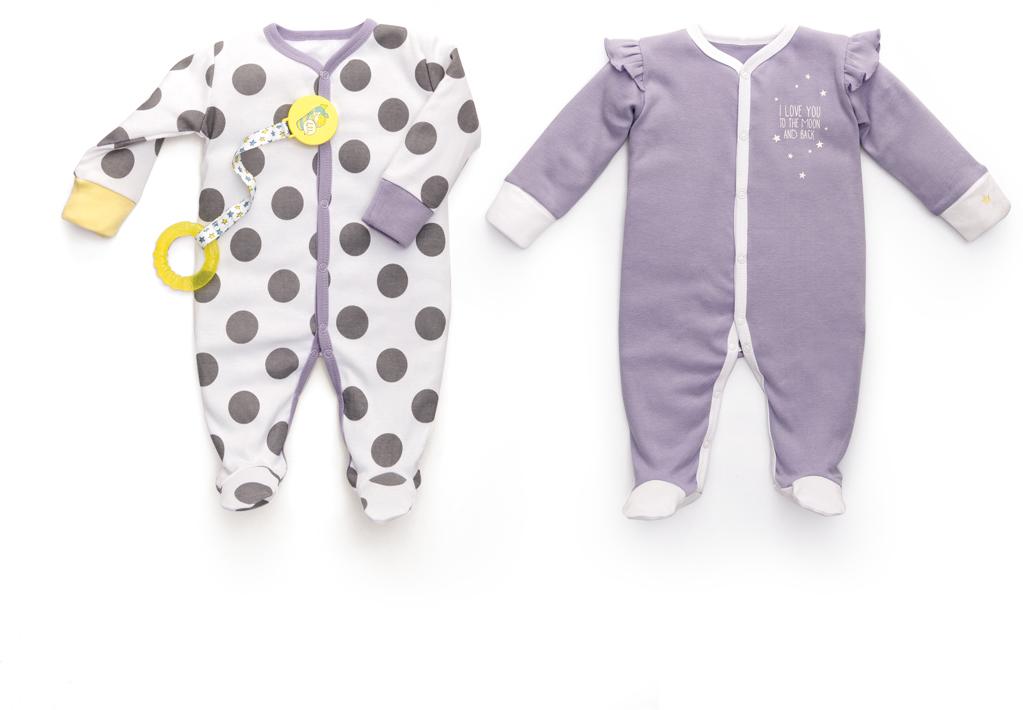 Пижама для девочки Happy Baby, цвет: белый, сиреневый, 2 шт. 90001. Размер 68/7490001Набор из двух пижам предназначен для малышей с самого рождения и соответствует требованиям родителей в отношении функциональности, высокого качества материалов и оптимального кроя! Для размеров 56/62 на рукавах предусмотрены антицарапки, чтобы малыш не поцарапал себя ноготками. Специальные резиночки позволяют мягко фиксировать штанишки на пяточках. Натуральная, очень эластичная и мягкая ткань создана из длинноволокнистого, гипоаллергенного хлопка, отлично выводит лишнюю влагу с поверхности тела, не вызывает аллергию или раздражение на коже малыша. Специально разработанное лекало обеспечивает правильную комфортную посадку на фигуре.