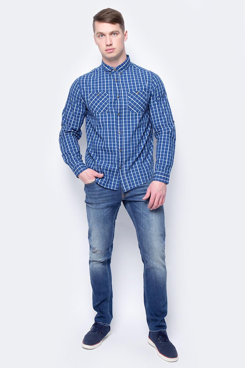 Рубашка мужская Sela, цвет: темно-синий. H-212/782-8112. Размер 44 virtue мужская рубашка бизнес стиль