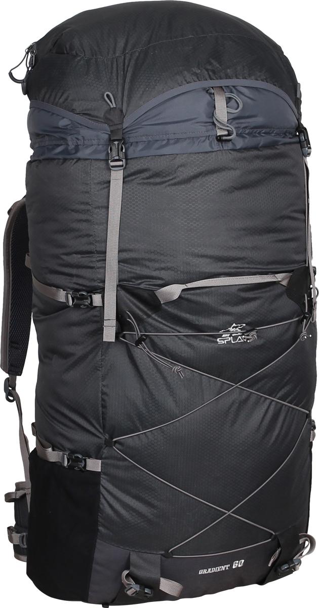 Рюкзак туристический Сплав Gradient, цвет: серый, 60 л. 50183905018390Gradient - это среднеобъемный рюкзак для походов в альпийском стиле, треккинга, подходов к скальным маршрутам и прогулок по ледникам. Он сочетает в себе поразительную легкость с продуманной системой подвески и грамотной организацией полезного объема. Сверхлегкий каркас из напряженного стеклопластикового прутка создает необходимую жесткость, а крупноячеистая сетка в сочетании с тонкими профилированными уплотняющими накладками обеспечивает вентиляцию спины. Поясной ремень и лямки (с регулируемой грудной стяжкой) анатомической формы с мягкой вентилируемой подкладкой из сетки Airmesh Coolmax. Грудная стяжка с амортизационной вставкой. На лямках рюкзака также есть петли для дополнительных карманов (в комплект не входят!). Для лучшего распределения нагрузки стропы лямок вшиваются не непосредственно в шов, а в треугольную полосу ткани. Объемный тубус из прочного силиконизированного нейлона фиксируется верхней стяжкой. Клапан «плавающий», съемный и может использоваться в качестве поясной сумки. Два больших боковых кармана из эластичной сетки фиксируются облегченными стяжками. Система крепления трекинговых палок или ледового инструмента позволяет отцепить их от рюкзака или закрепить их прямо на ходу, не снимая рюкзак. Под днищем - петли для крепления не поместившегося в основной объем снаряжения. Объем: 60 л. Вес: 1,1 кг. Вес клапана: 76 г. Используемые ткани: Nylon Honeycomb 100D / Cordura 500D.Пластиковая фурнитура: Duraflex.Нитки, стропы: 100% нейлон.
