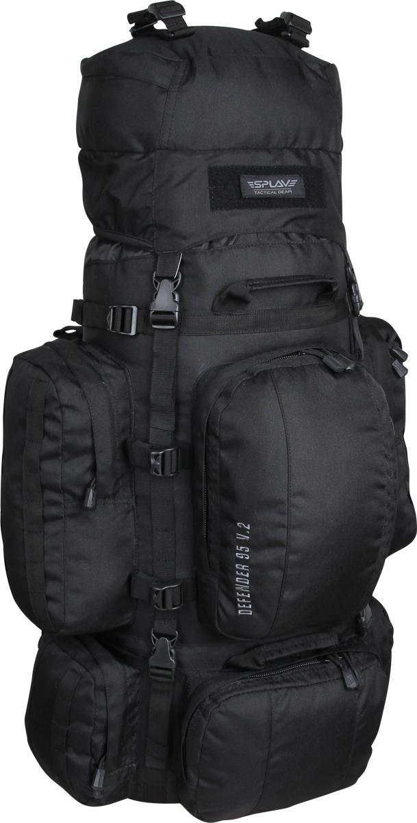 Рюкзак туристический Сплав Defender, цвет: черный, 95 л. 50248405024840Многофункциональный рюкзак с разнообразными внешними карманами. Съемные, регулируемые по высоте лямки. Большая ширина, анатомический силуэт. Два слоя пены и сетка Airmesh для мягкости и вентиляции. Верхние оттяжки. Ячейки PALS для крепления подсумков выполнены методом лазерной резки в усиленной ткани, что обеспечивает лямкам тонкий профиль и плоскую поверхность, не мешая прикладке оружия. Cпинка рюкзака благодаря многослойной структуре имеет высокую жесткость и обеспечивает отличную вентиляцию. Внутри вертикальные карманы для съемных лат. Нижний вход в основной объем, с внутренней перегородкой на молнии. Боковые стяжки могут проходить как под боковыми карманами, так и поверх них. На поверхности этих карманов петли для продевания штатных или дополнительных стяжек.Нижние боковые карманы по 1,4 л каждый с кармашками-упорами для длинномерных предметов. Верхний фронтальный карман с двумя отделениями: 5,5 л. Нижний фронтальный карман: 2,5 л. Дополнительные съемные стяжки для крепления груза на дне и клапане.Три ручки для погрузки/разгрузки. Совместимость с питьевыми системами - внутри имеется отделение для гидратора, петли для подвеса и клапан для вывода трубки. Питьевая система не входит в комплект! Съемный регулируемый по высоте клапан, внешнее отделение на молнии и скрытое отделение под клапаном. Съемный широкий пояс. Боковые оттяжки, ячейки MOLLE для навески подсумков. Объем: 95 л.Вес: 2,8 кг.Основное отделение: 34 x 75 x 22 см.Верхний передний карман: 20 x 29 x 15 см.Нижний передний карман: 24 x 17 x 6 см.Верхний боковой карман (2 шт): 16 x 31,5 x 9 см.Нижний боковой карман (2 шт): 18 x 20 x 6 см.Карман на клапане: 29 x 20 x 11 см.Основная ткань: Polyester 600D.Фурнитура: Duraflex.