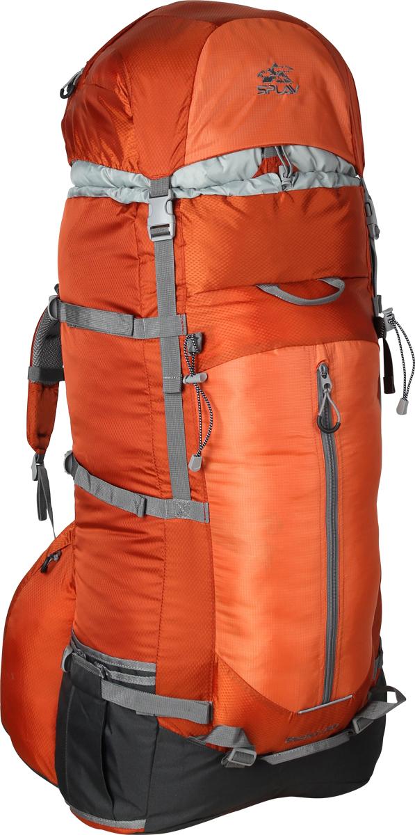 Рюкзак туристический Сплав Bastion, цвет: оранжевый, 130 л. 50256755025675Облегчённый трекинговый рюкзак. За счет новой конструкции спины (без использования металлических лат) и использования более легкой ткани, удалось снизить вес рюкзака. Новая спинка рюкзака благодаря многослойной структуре имеет достаточную жесткость и обеспечивает отличную вентиляцию. Точки крепления треккинговых палок или ледоруба. Нижние боковые карманы-упоры с регулировкой объема. Удобный фронтальный карман обтекаемой формы с вертикальной молнией. Боковые карманы на молнии позволяют получить доступ к их содержимому, не снимая рюкзака. Две ручки с фронтальной стороны и одна сзади для погрузки/разгрузки рюкзака.Объем: 130 л. Вес: 2,10 кг. Размер основного отделения.: 42 x 82 x 25 см. Размер клапана: 42 x 18 x 25 см. Используемые ткани: Polyester 450D / 330D R/S. Фурнитура: Duraflex.