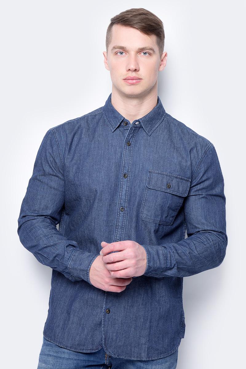 Рубашка мужская Mustang 1/1Slv_1/P_R, цвет: темно-синий. 1005211-5000-800. Размер M (48)1005211-5000-800Мужская рубашка Mustang выполнена из натурального хлопка. Модель свободного кроя с длинными рукавами и отложным воротником застегивается на пуговицы. На груди рубашка дополнена накладным карманом с клапаном на пуговице.