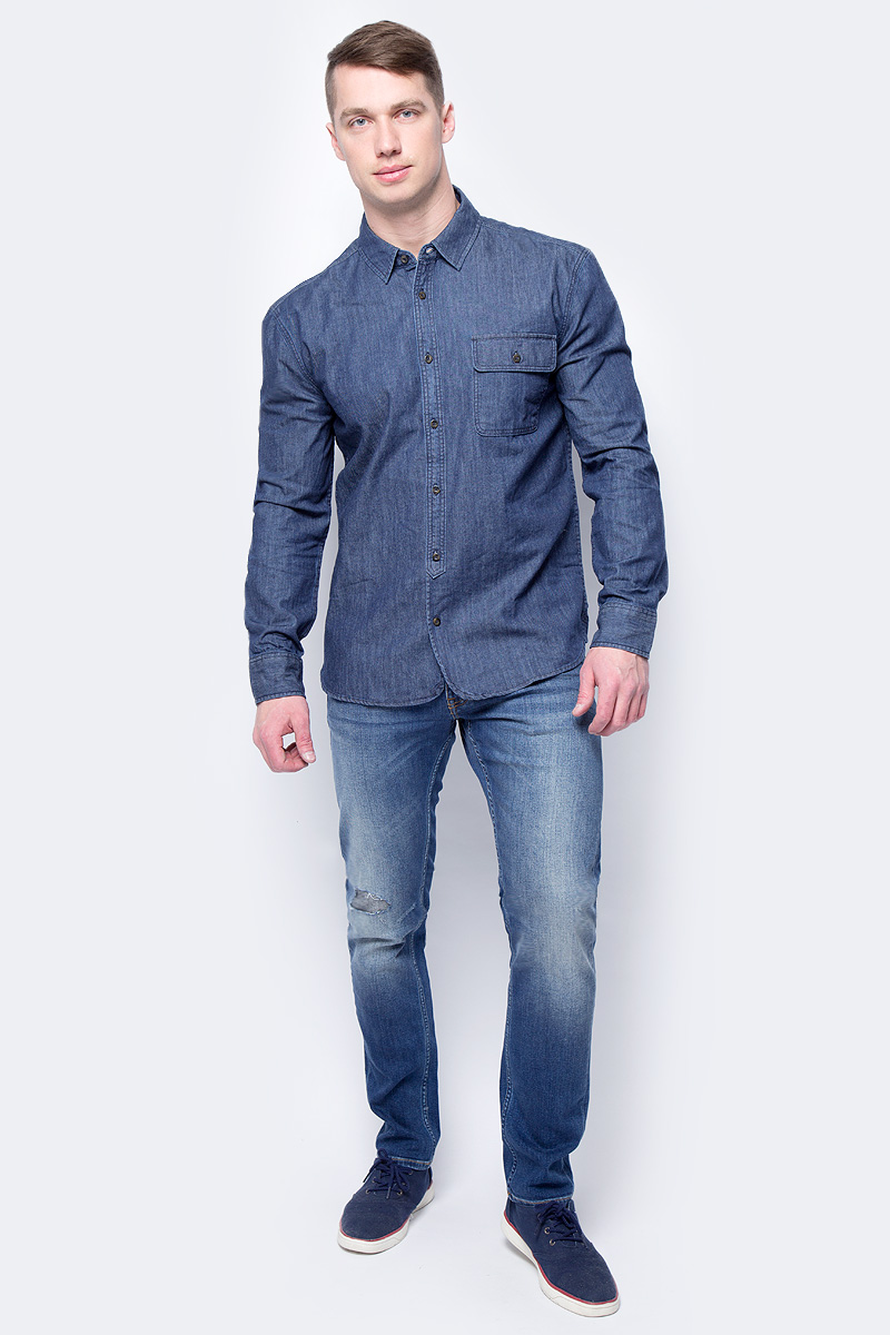 Рубашка мужская Mustang 1/1Slv_1/P_R, цвет: темно-синий. 1005211-5000-800. Размер M (48)1005211-5000-800