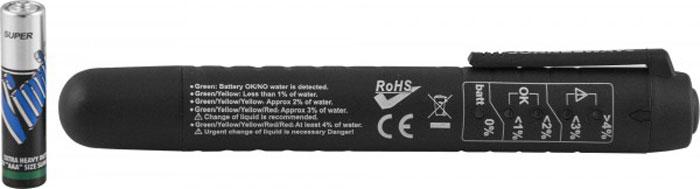 Тестер тормозной жидкости Jonnesway. AR030047AR030047Тестер тормозной жидкости применяется для определения процентного содержания воды в тормозных жидкостях на гликолевой основе при обслуживании систем автомобиля, имеющих гидравлические приводы тормозных механизмов и сцепления.