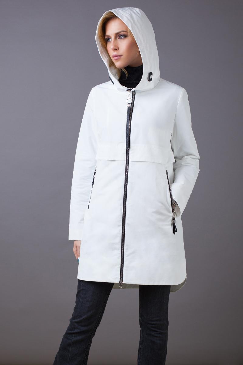 Куртка женская Malinardi, цвет: белый. MR18C-W8590. Размер XL (48)MR18C-W8590(01)Стильная женская куртка Malinardi, выполненная из высококачественного материала на основе полиэстера, отлично дополнит повседневный образ. Модель прямого кроя с удлиненной спинкой, капюшоном и воротником-стойкой, надежно защищающим от ветра, застегивается на молнию с внутренней ветрозащитной планкой и дополнена двумя прорезными карманами на молнии.