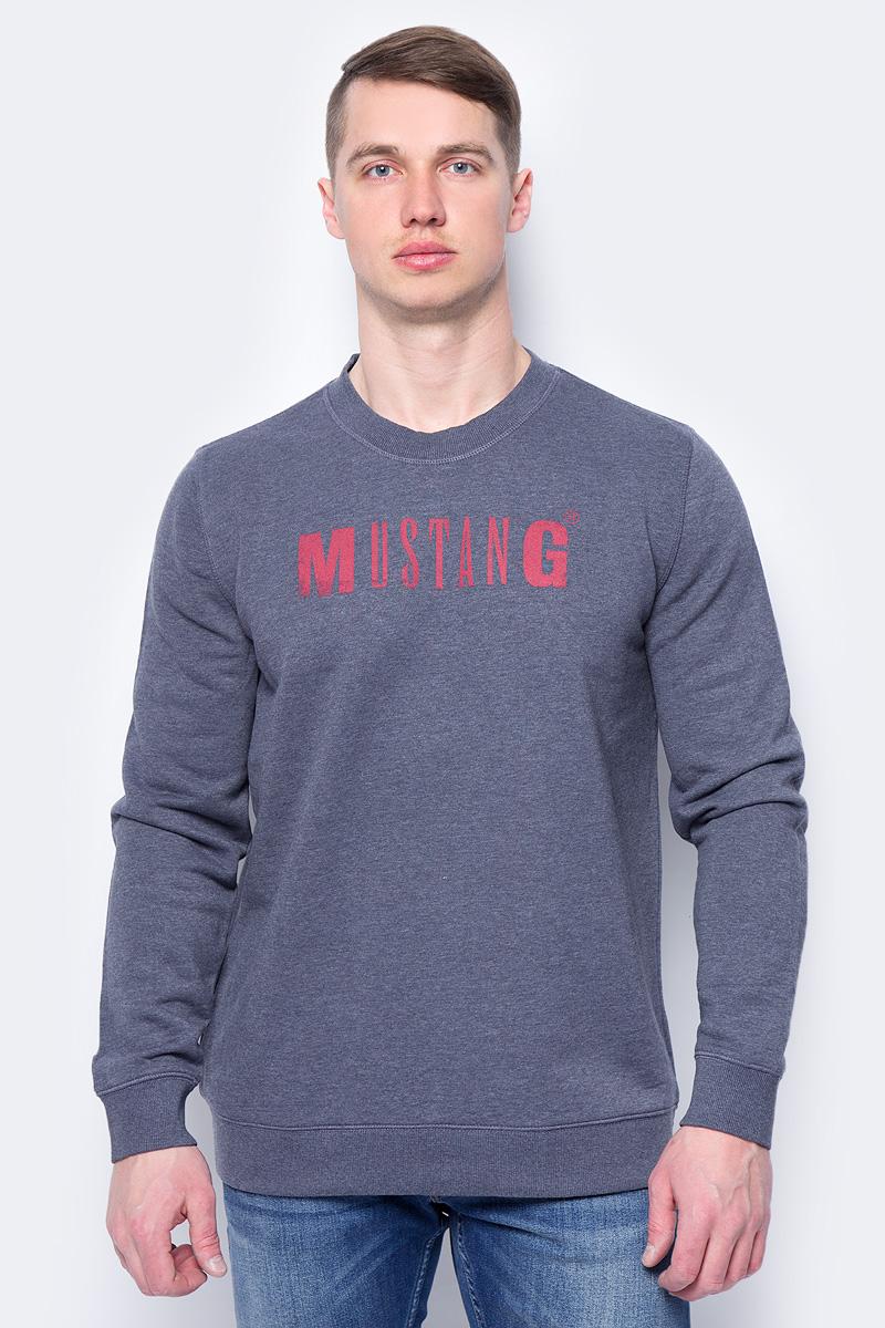 Купить Толстовка мужская Mustang Logo Sweatshirt, цвет: синий. 1005456-5370. Размер M (48)